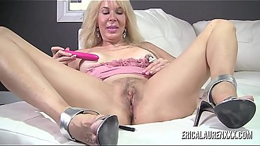Erica Lauren suctions her nipples then masturbates