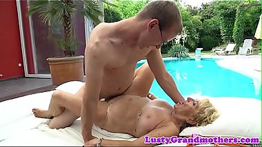 Euro granny with hairy pussy fucked outdoors