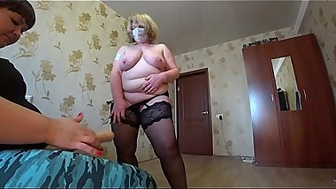 Mature milf shows a striptease and jumps on a lesbian in a pose a cowgirl, a huge strapon in a hairy pussy and chic shapes bbw.