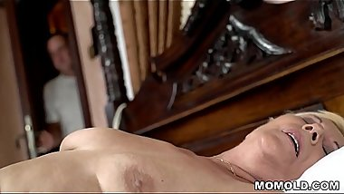 Young guy watches a masturbating granny