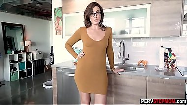 Hot skinny MILF stepmom helps a stepson get rid of that