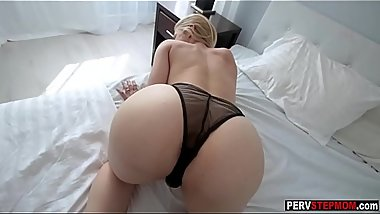 Blonde MILF stepmom makes horny a stepson with video