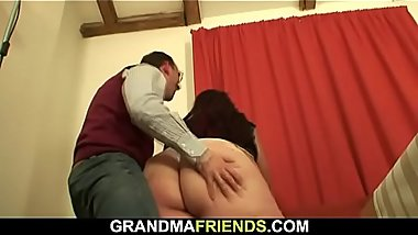 Two young dudes fuck big boobs mature fatty