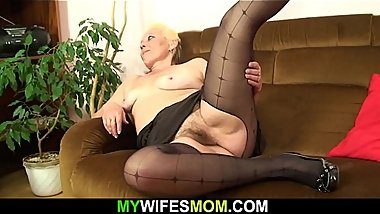 Hairy pussy old mother inlaw rides his cheating cock