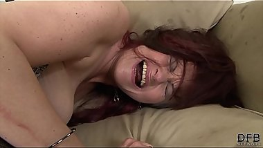 Big tits cougar pissing on the floor after hairy hardcore interracial fuck