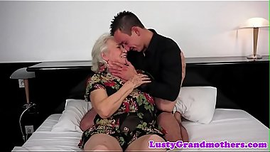 Chubby grandma titfucked and pussy banged