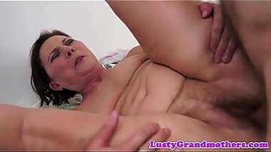 Hairy grandma fucked and creampied