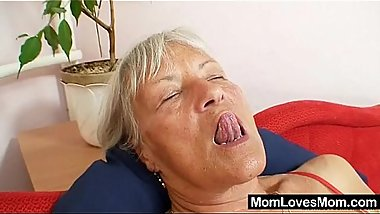 Ugly grandma Cecilie toys her  hairy pussy