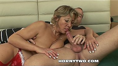 Blonde fat mature with big tits fucked by young lucky dude