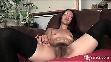 Hairy MILF has intense orgasm rubbing her muff