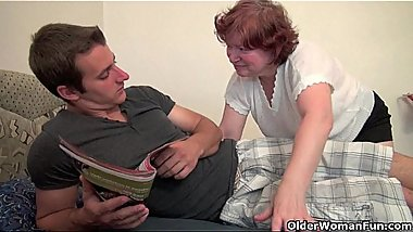 Full figured grandma seduces son'_s friend