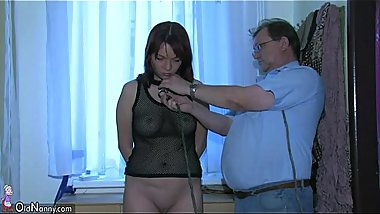OldNanny Sexy young Girl playing with old man and his old chubby mature