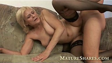 Grandma in black stockings nailed
