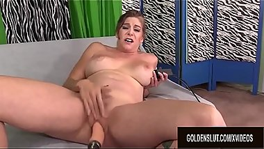 Gorgeous Mature Jade Blissette Gets Her Hairy Pussy Drilled by a Machine